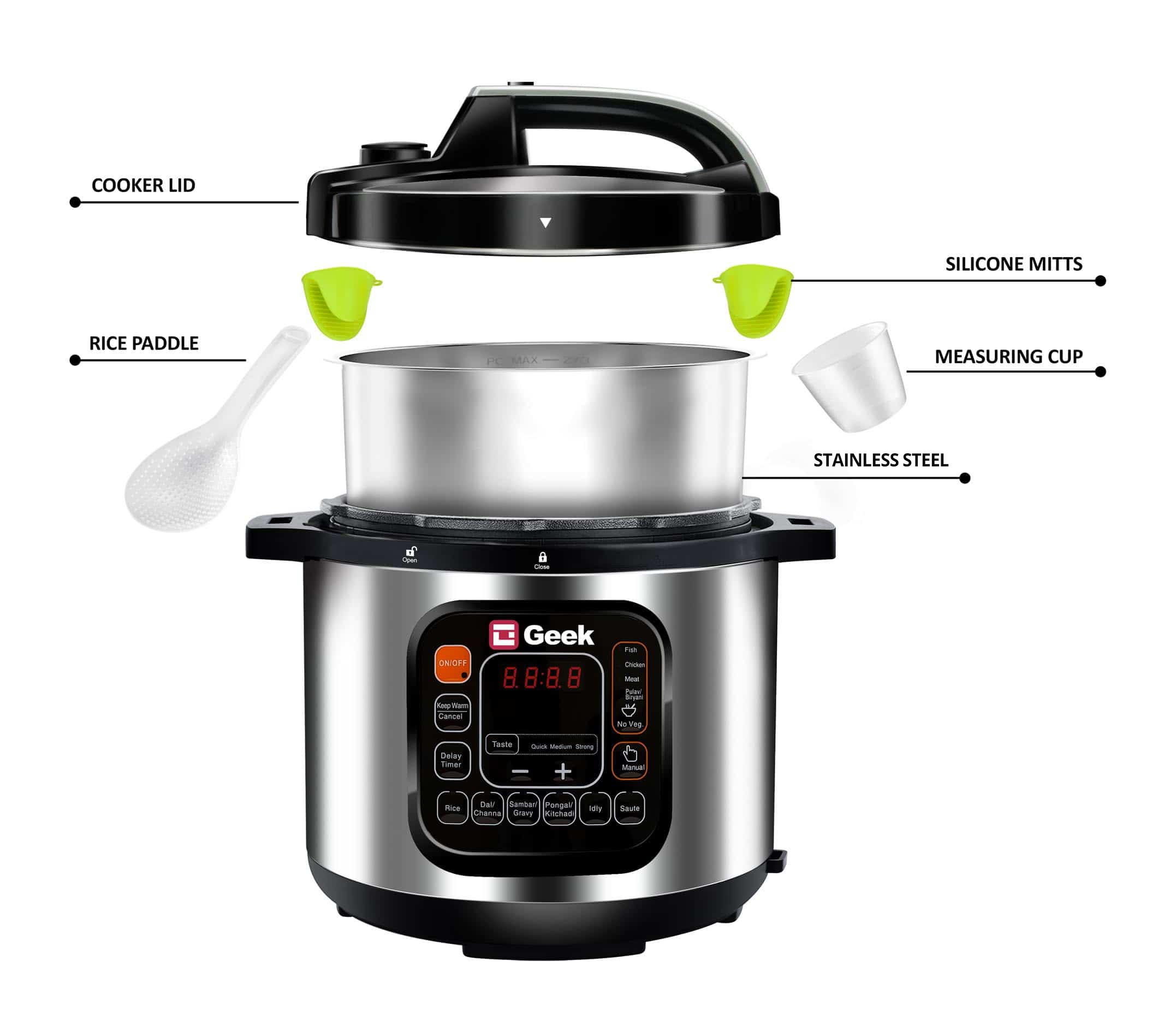See what's inside the Geek Robocook Zeta Automatic Electric Pressure cooker box