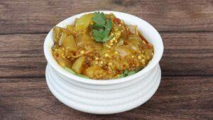 Brinjal Onion Salan in a bowl